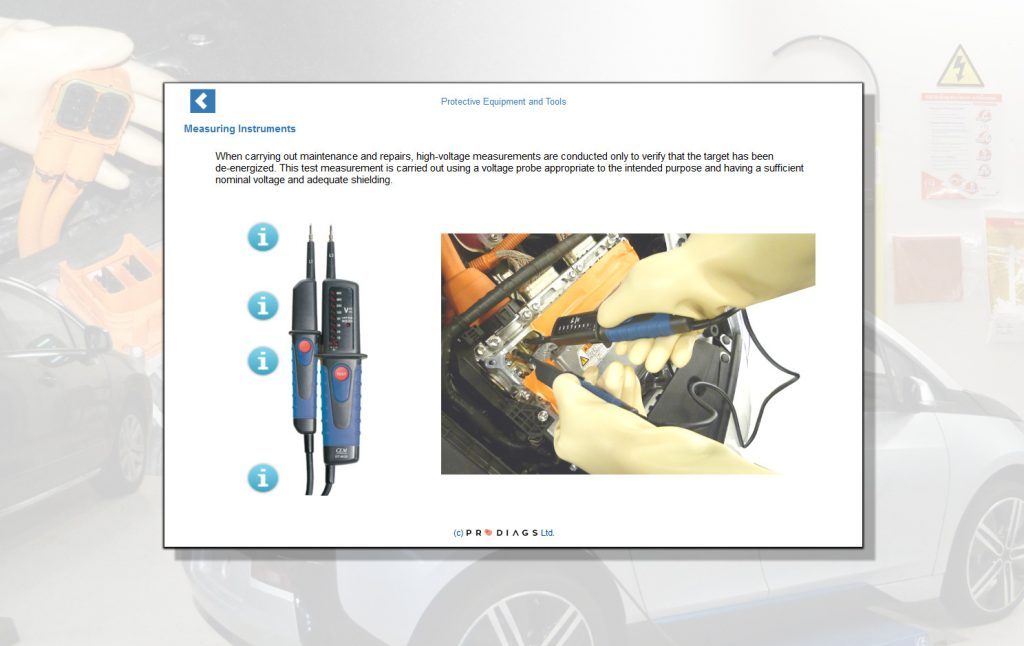 With this hybrid and electric vehicle training module you will learn how charging a hybrid or electric vehicle works. You will also learn how to measure the electrical system to ensure that the vehicle i safe to work on. Measuring a high voltage system in a car can be very dangerous, and you have to know the correct procedures to ensure your safety. This applies to working on a hybrid or electric vehicle in general.
