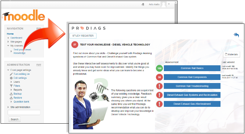 Moodle with Prodiags course module