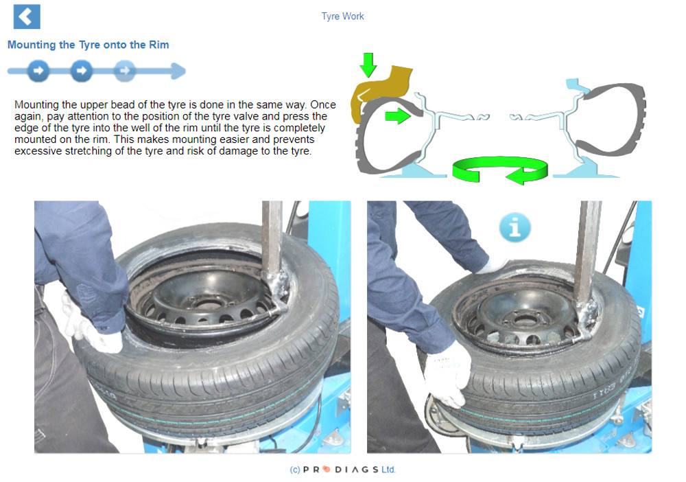 With this online tyre work training module you will learn how to operate a tyre changing machine, and what tyre special tools are needed for performing tyre work. You will learn how to mount and dismount tires from rims, and how to balance them afterwards.