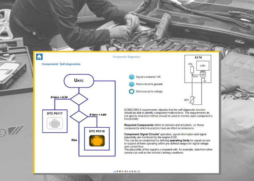 Learn how component self diagnostics work, and improve your diagnostic skills with this online obd training module for mechanics. Get a picture over how things are connected within the system.