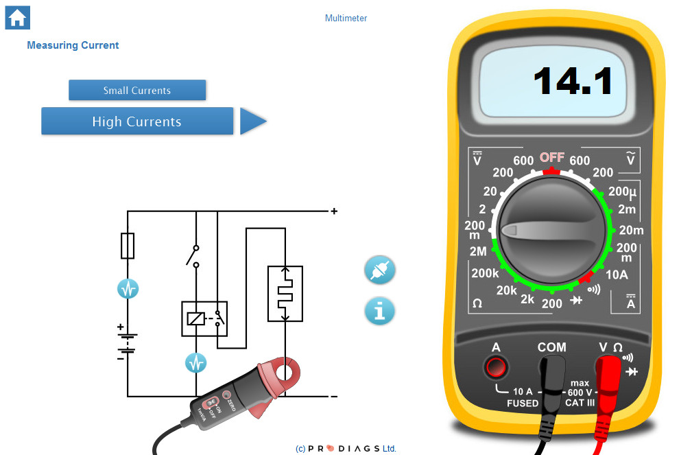 Learn how to properly use the multimeters different functions, and how to get the correct readings when measuring a car's electrical system with a multimeter. Learn how to use a current clamp, and how to measure with measuring probes with this online training module.