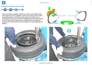 Mit diesem Online-Reifenarbeitstrainingsmodul lernen Sie, wie man eine Reifenwechselmaschine bedient und welche speziellen Reifenwerkzeuge für die Durchführung von Reifenarbeiten benötigt werden. Sie lernen, wie man Reifen von Felgen montiert und demontiert und wie man sie anschliessend auswuchtet.