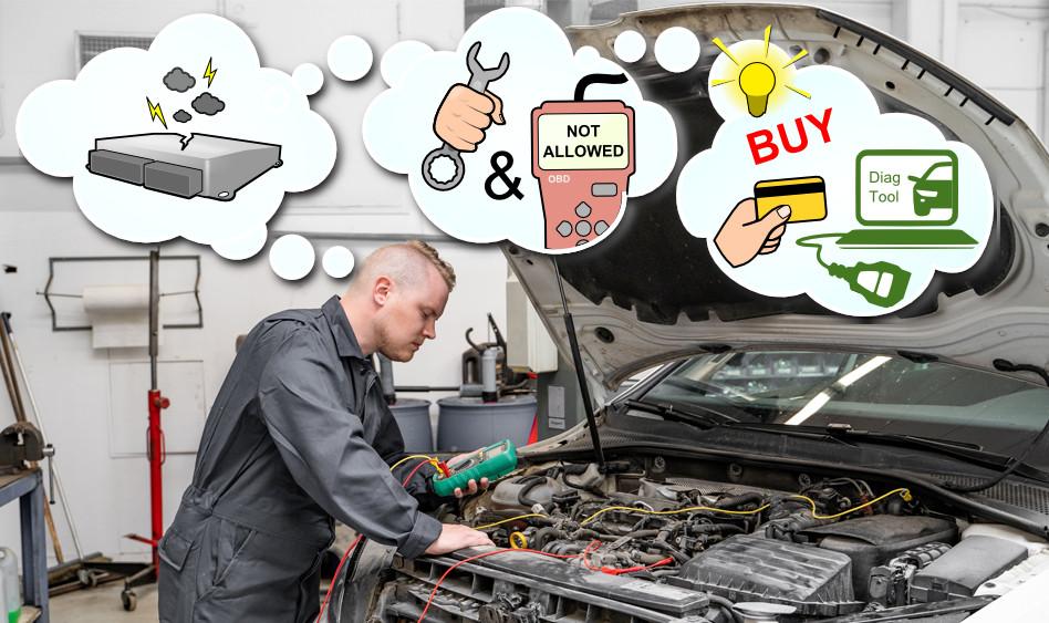 Automekaanikko tai autoteknikko tajuaa että hän tarvitsee uusia diagnostiikka työkaluja verkkokoulutuksessa opittujen taitojen hyödyntämiseen