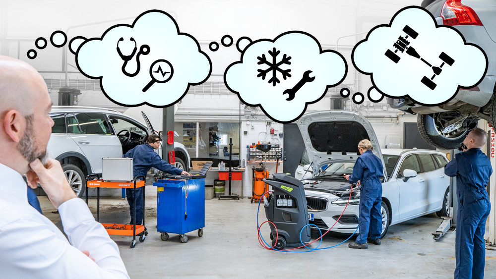 Automotive workshop manager thinking about what Prodiags online training modules would suit each mechanic or technician