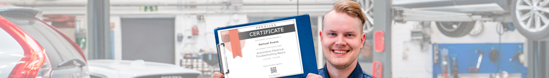 Proud mechanic or technician showing Prodiags Training Certificate