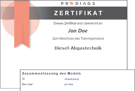 Digital verifiziertes Zertifikat zum Abschluss des Schulungsmoduls