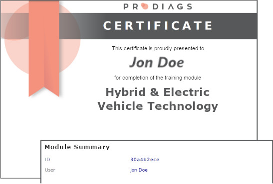 Prodiags Training Module Certificate Example