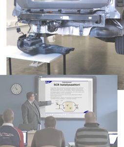 Prodiags Online Training being used in classroom with mechanics and SCR reservoir on table