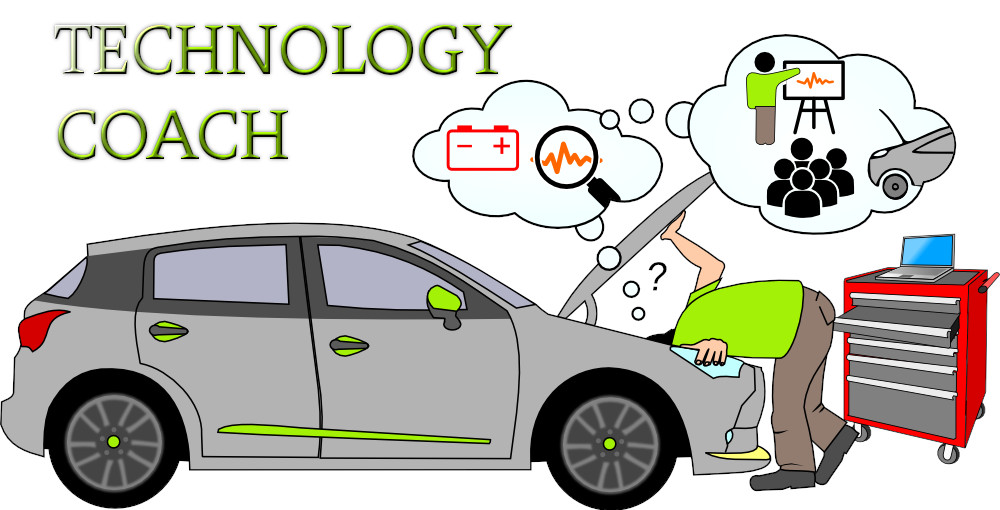 Technology coach digging into automotive technology for personal development for teachers and trainers