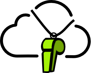 Prodiags teacher personal development start-up icon, whistle hanging around cloud