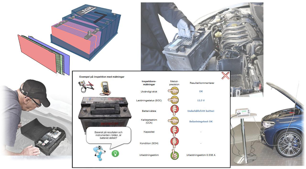 Studera hur en bils startbatteri fungerar. Lär dig hur du kan göra pålitliga batterikontroller med en batteritestare och övriga kontroller med multimeter, oscilloskop och strömavkännare.