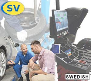 Vad är skillnaden mellan statisk och dynamisk obalans i hjulen? Lär dig kontrollera balanseringen, och hur du säkerställer att kunden är nöjd med servicen. Bekanta dig med däckmaskinen, balanseringsmaskinen samt andra specialverktyg som behövs vid däckarbete. På bilden: 2 män som inspekterar hjulet, mekanikern och kunden, samt balanseringsmaskin och montering av däck på fälg.