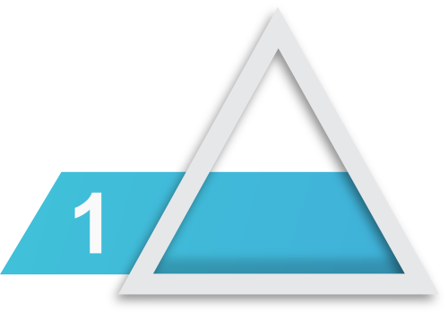 Prodiags Workshop Next Level Concept product icon for level 1 - technician's package. Silver triangle with blue box within with the number one in it.