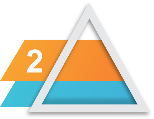 Prodiags Workshop Next Level Concept product icon for level 2 - master technician's package. Silver triangle with blue and orange boxes within with the number two inside.