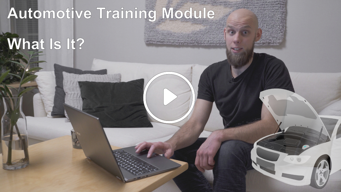 thumbnail for the video explaining what a Prodiags Training Module is. Bearded man sitting on couch with laptop.