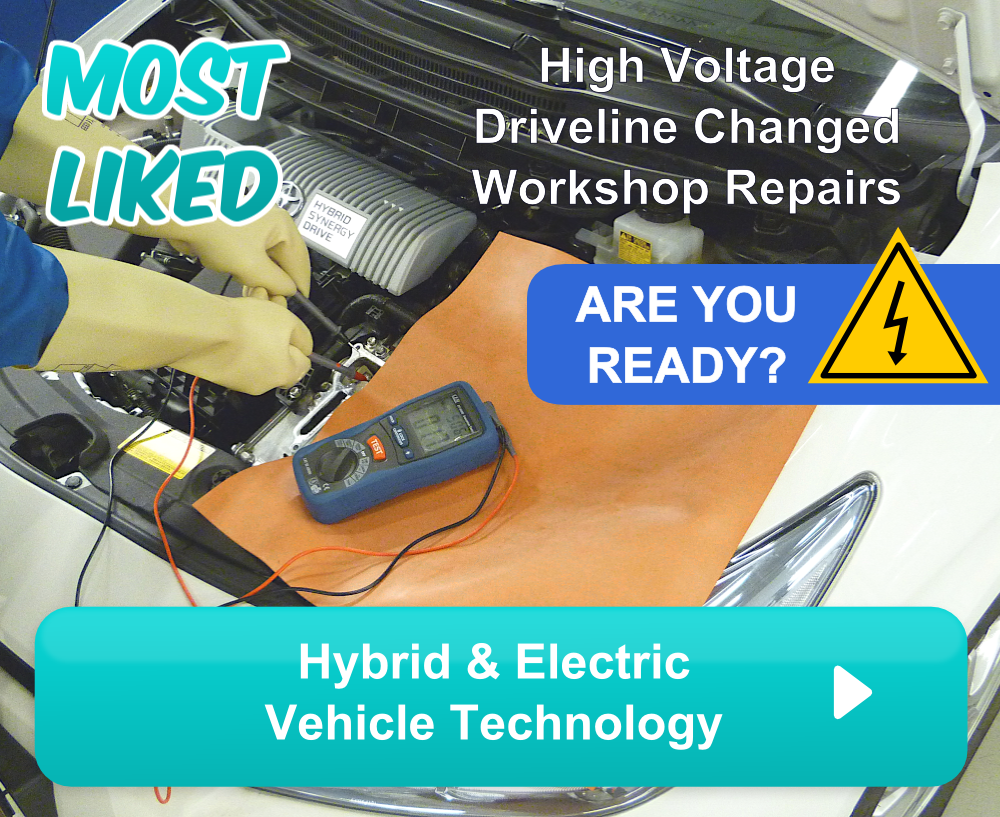 Most liked automotive training module online. High voltage driveline changed workshop repairs. Are you ready? Hybrid & Electric Vehicle technology. Course in EV and HEV tech for automotive mechanics and technicians.