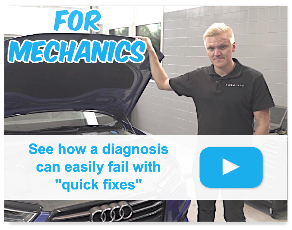 """Blond Automotive trainer or mechanic or technician standing beside VAG Audi A5 car holding the hood open with the text """"for mechanics"""" and """"see how diagnosis can easily fail with quick fixes""""."""