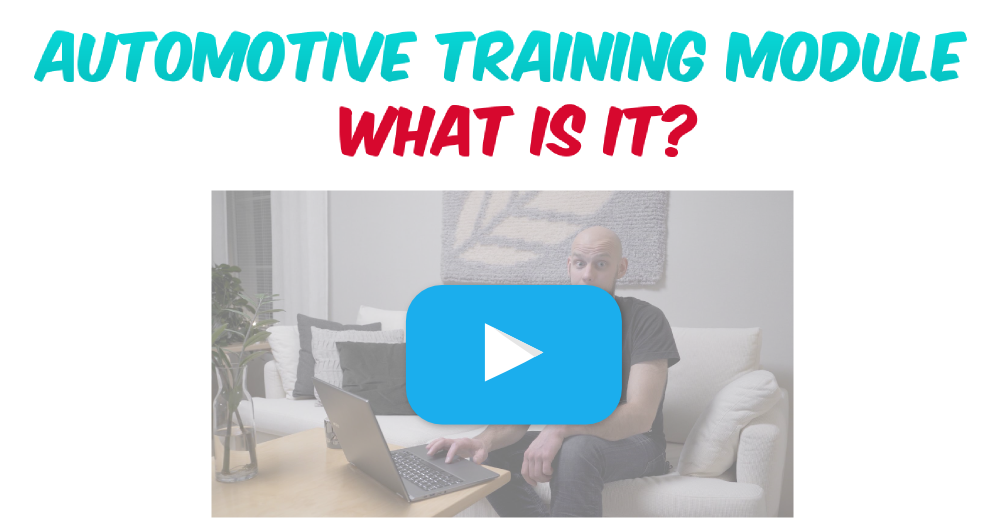 Video thumbnail with a blue play button and a bearded man sitting on couch with a laptop. Text: Automotive training module what is it?