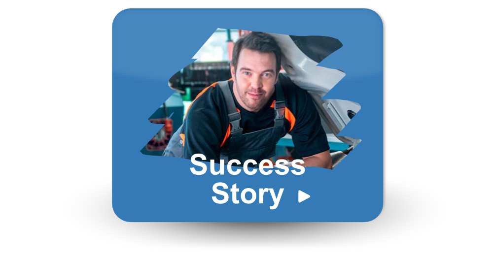 """Button with a mechanic or technician leaning against car and the text """"success story"""""""