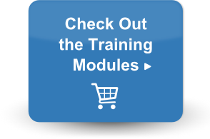 Button with shopping cart and text: Check out the training modules